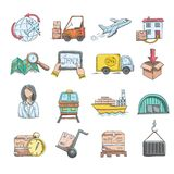 Logistics Sketch Icons Set Stock Photography
