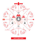 Logistics snowflake. Robot wearing Santa hats. Postcard Stock Images