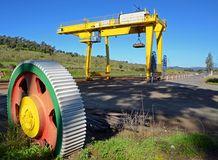 Logistics station and wheel. Loading, unloading on the logistics station royalty free stock photo