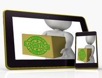 Logistics Tablet Means Packing And Delivering Products Royalty Free Stock Images