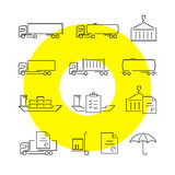 Logistics thin line icons set Stock Images