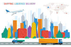 Logistics town road plane trucks world map Stock Image