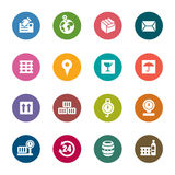 Logistics and Transport Color Icons. A collection of different kinds of logistics and transport color icons. It contains hi-res JPG, PDF and Illustrator 9 files stock illustration