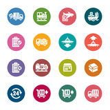 Logistics and Transport Color Icons. A collection of different kinds of logistics and transport color icons. It contains hi-res JPG, PDF and Illustrator 9 files Stock Photography