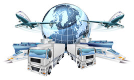 Logistics Transport Concept. Of planes, trucks, trains, and cargo ship coming out of a globe stock illustration