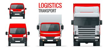 Logistics transport. Front view truck trailer, Semi truck, cargo delivery, van and minivan. Blank Freight delivery vector illustration
