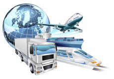 Logistics transport globe concept Royalty Free Stock Photo