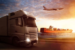 Logistics. Transportation by air, water or road Stock Photography