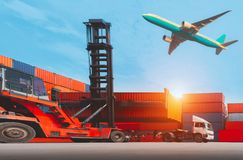 Logistics and transportation of container cargo ship and cargo plane with working crane bridge in shipyard at sunrise, Logistic stock images