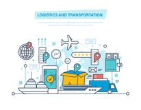 Logistics, transportation. Delivery air, train, ship, road transport, manual delivery. Logistics and transportation, delivery services, opened box. Delivery by Royalty Free Stock Photos