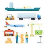 Logistics and transportation, delivery services. Vehicles, navigation gps. Logistics and transportation, delivery services, opened box. Delivery by air, train Stock Image