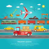 Logistics transportation details flat poster print Royalty Free Stock Photography