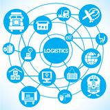 Logistics. And transportation network on blue background stock illustration