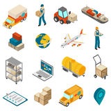 Logistics Transportation Symbols Isometric Icons Collection Stock Images