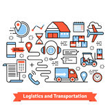 Logistics and transportation. Warehouse center. Truck, forklift, goods delivery.  Thin line art flat illustration with icons Royalty Free Stock Photo