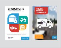Logistics truck brochure flyer design template. With abstract photo background, Boxes piles sto inside a garage for delivery, Up arrows couple, Delivery truck Stock Images