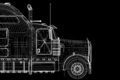 Logistics - Trucking. 3D model, body structure , wire model Royalty Free Stock Photos