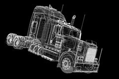 Logistics - Trucking. 3D model, body structure , wire model Stock Image