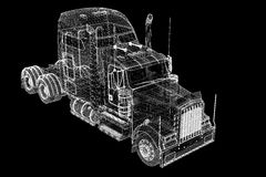Logistics - Trucking. 3D model, body structure , wire model Royalty Free Stock Image
