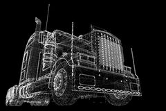 Logistics - Trucking. 3D model, body structure , wire model Stock Images