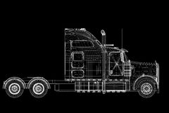 Logistics - Trucking. 3D model, body structure , wire model Royalty Free Stock Photo