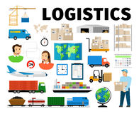 Logistics vector elements isolated on white background. Worker and transport, warehouse distribution work fulfillment. Logistics vector elements isolated on stock illustration