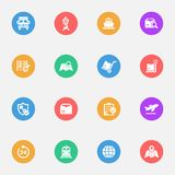 Logistics vector flat icons on the color substrate  set of 16. On white background Royalty Free Stock Photos
