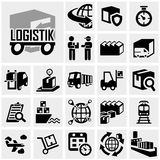 Logistics vector icon set on gray Stock Photography