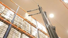Logistics warehouse with goods. Automated logistics systems in stock view from the top