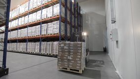 Logistics warehouse with goods stock video