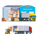 Logistics warehouse with loading truck Stock Image