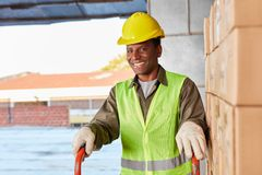 Logistics worker from the delivery service of the forwarding com stock photo