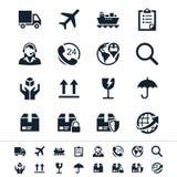 Logistiek en verschepende pictogrammen royalty-vrije illustratie