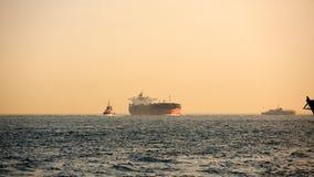Logistiek en vervoer van Internationaal Containervrachtschip Vrachtvervoer, het Verschepen Stock Foto's