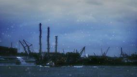 logistiek en vervoer Vrachtschepen met havenskranen in haven De Тransportationindustrie De dag van de de wintersneeuw in Holland