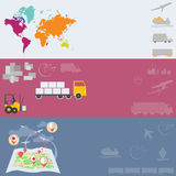 Logistiek en Vervoers globale vervoers vectorbanners Stock Foto