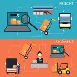 Logistiek en vracht de reeks van het verzendingsstroomschema vector illustratie