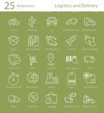 Logistiek, het verschepen en leverings geplaatste pictogrammen Stock Foto
