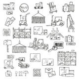 Logistiek, opslag en leveringsschetsen Royalty-vrije Stock Foto's