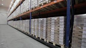 Logistiekpakhuis met goederen stock videobeelden