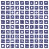 100 logistiekpictogrammen geplaatst grunge saffier Royalty-vrije Stock Foto
