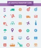 Logistiekpictogrammen, Kleurrijke versie Stock Afbeeldingen