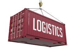 Logistik - burgundy hängande lastbehållare Royaltyfria Bilder