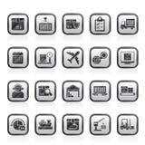 Logistik-, Lieferungs-, Transport- und Frachtikonen Stockfotografie