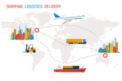 Logistik och leverans från en stad till andra Stock Illustrationer
