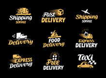 Logistik- och leveransvektorsymbolsuppsättning Internationellt sändningssymbol Fotografering för Bildbyråer