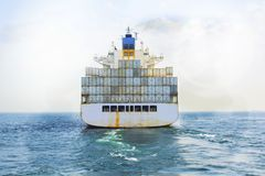 Logistik och trans. av internationell sh behållarelast arkivfoto