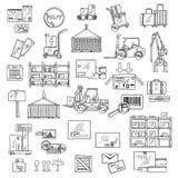 Logistik-, Speicher- und Lieferungsskizzen Lizenzfreie Stockfotos