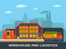Logistik und Lagergebäude mit LKWs und Stockbilder