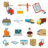 Logistik- und Lieferungskarikaturikonen in der Satzsammlung für Design Transport und Vektorsymbolvorrat der Ausrüstung isometrisc stock abbildung